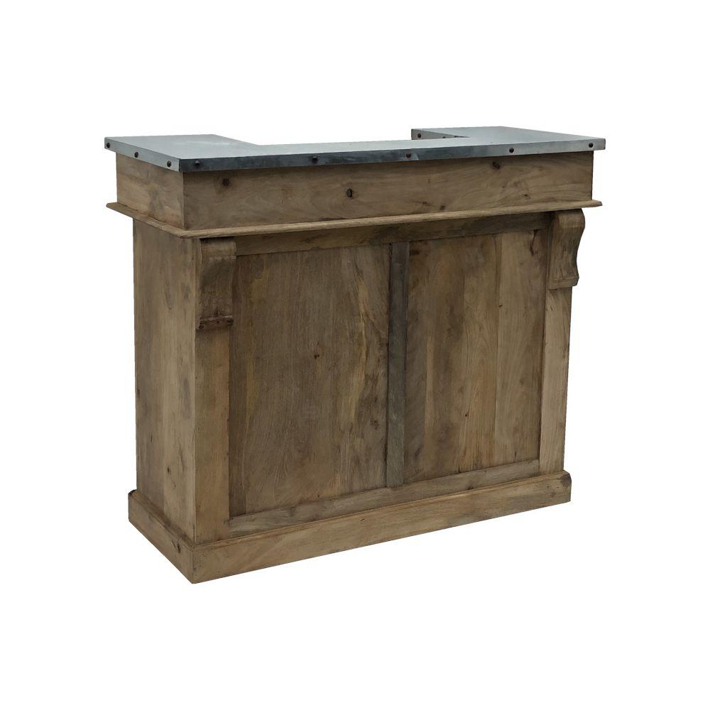 L'Originale Deco Meuble Bar Bois Manguier Comptoir à Tiroirs 120 cm x 102.50 cm x 51 cm