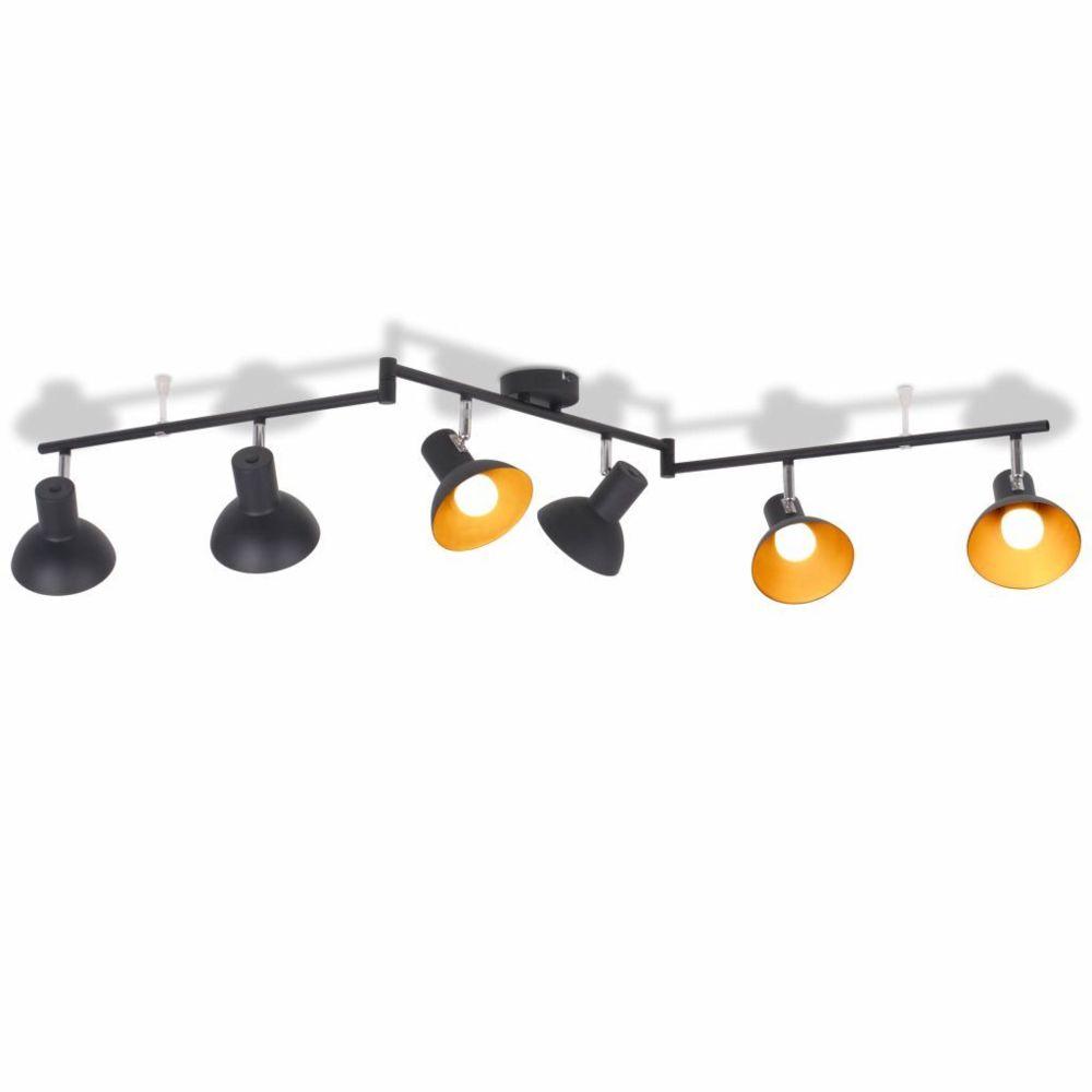 Vidaxl Plafonnier pour 6 ampoules E27 Noir et doré   Multicolore
