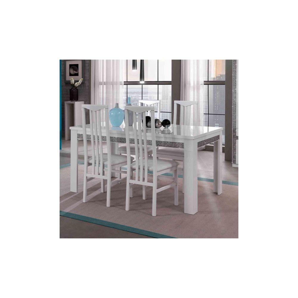 Dansmamaison Table de repas rectangulaire laqué Blanc - CRAC - L 160 x l 90 x H 77 cm