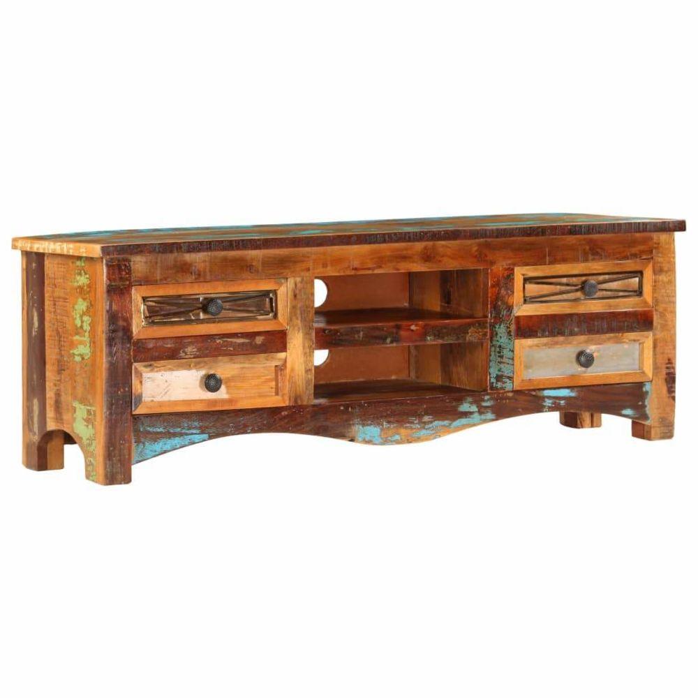Helloshop26 Meuble télé buffet tv télévision design pratique 120 cm bois de récupération massif 2502283/2