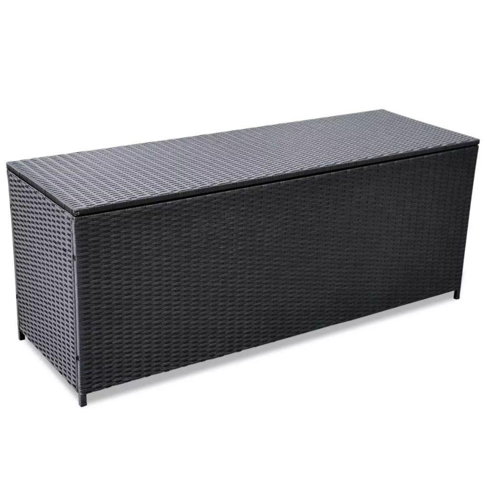 Vidaxl Boîte de rangement d'extérieur Résine tressée Noir 150x50x60 cm | Noir