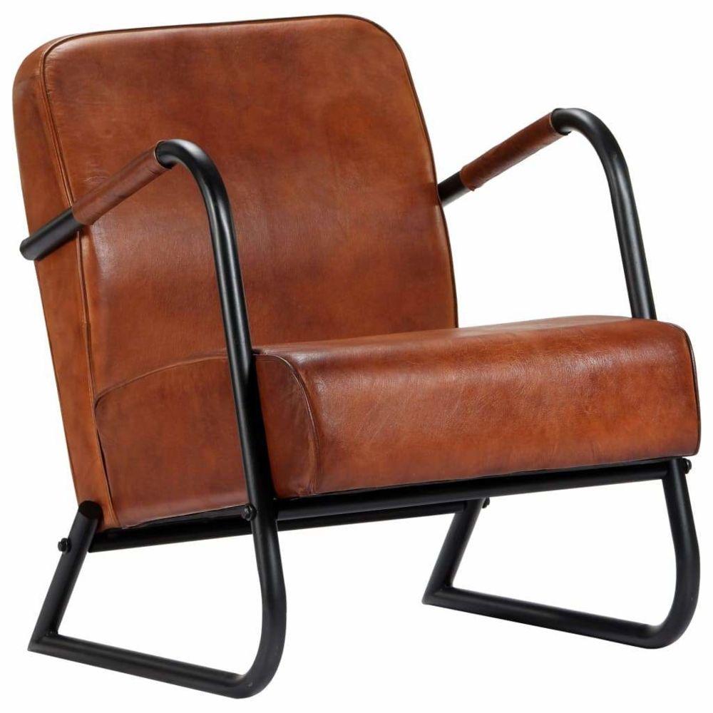 Helloshop26 Fauteuil chaise siège lounge design club sofa salon de repos marron cuir véritable 1102295