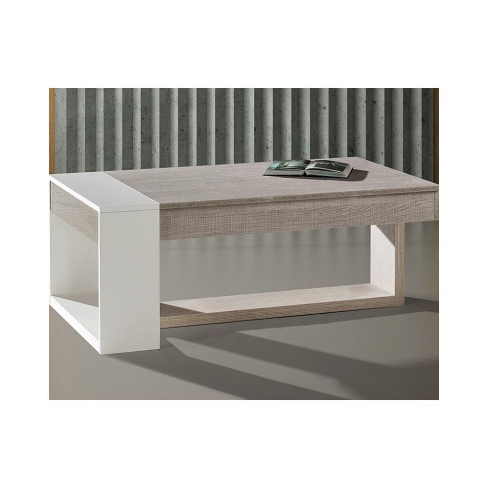 Tousmesmeubles Table basse relevable Chêne clair/Blanc - ESTEBAN