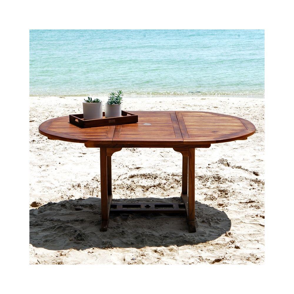 Bois Dessus Bois Dessous Table de jardin en bois de teck avec rallonge 6 à 8 places