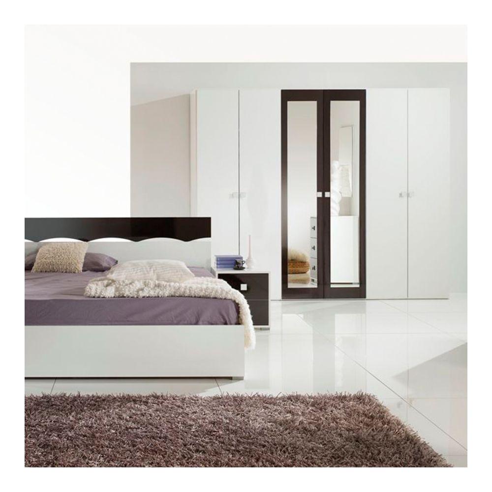 Nouvomeuble Armoire 260 cm blanc et noir design DAFINA