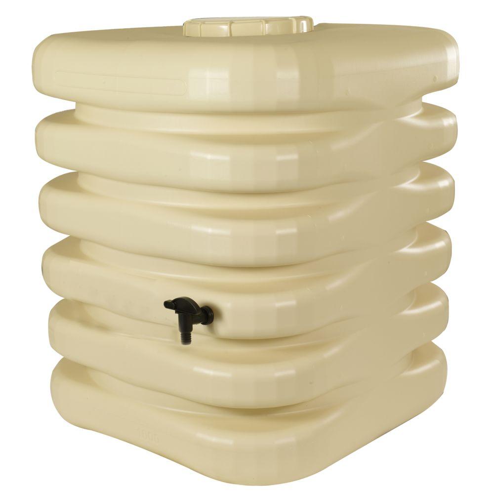 Bellijardin CUBIQUE - Récupérateur à eau aérien - Cuve rectangulaire 1000L - Beige - 0242
