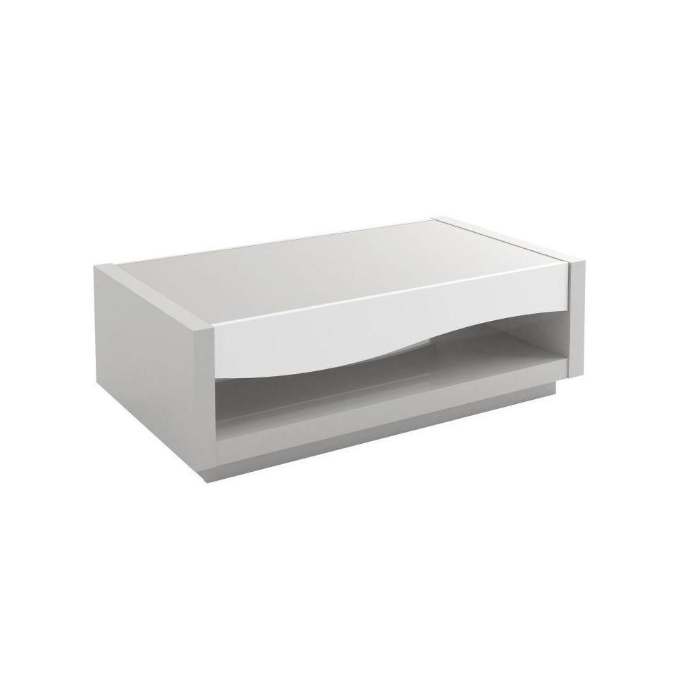 Tousmesmeubles Table basse 1 tiroir laqué Blanc/Gris - RALF