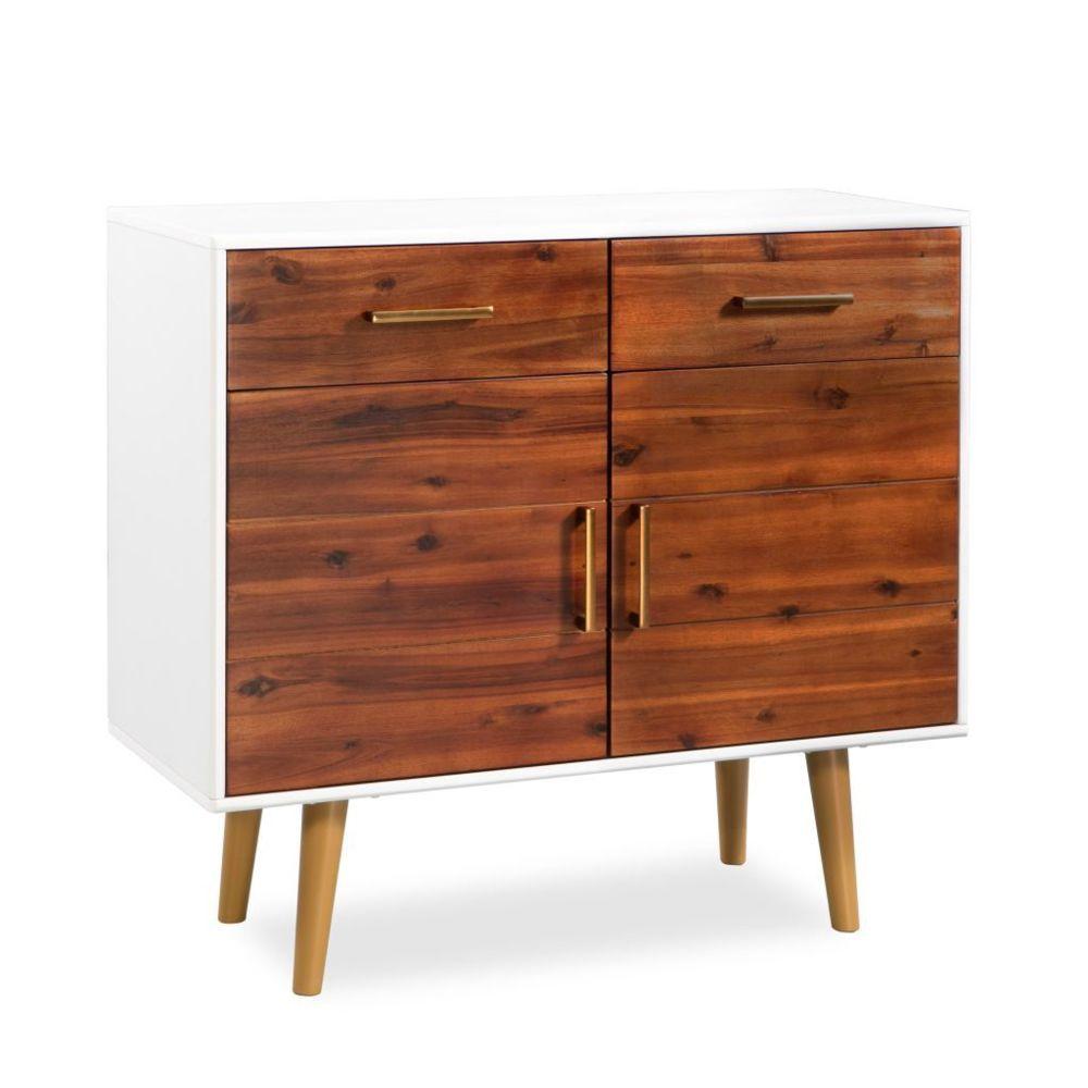 Vidaxl Buffet Bois d'acacia massif 90 x 33,5 x 83 cm | Blanc - Armoires et meubles de rangement - Buffets et bahuts | Blanc | B