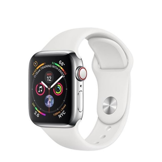 Apple - Aws 4 Cell 40 Steel/white - Apple Watch