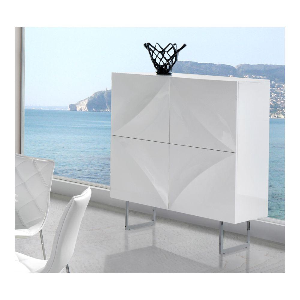 Sofamobili Buffet haut blanc laqué 4 portes design ARTA