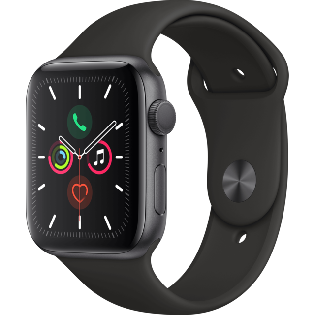Apple - Watch 5 - 44 - Alu gris / Bracelet Sport Noir - Objets connectés reconditionnés