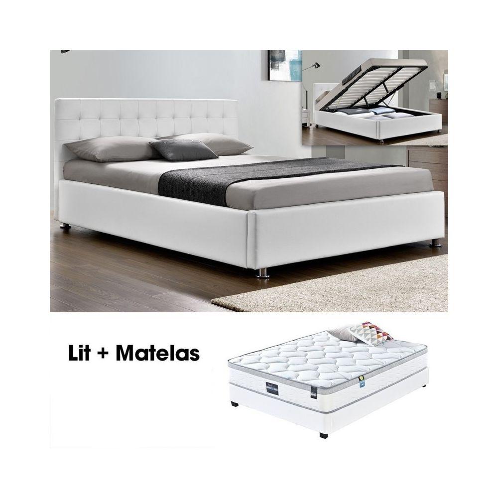 Meubler Design Lit complet Capitole + matelas Romance 160 Blanc