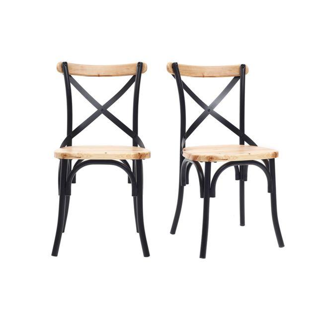 chaises industrielles en metal noir et bois lot de 2 jake