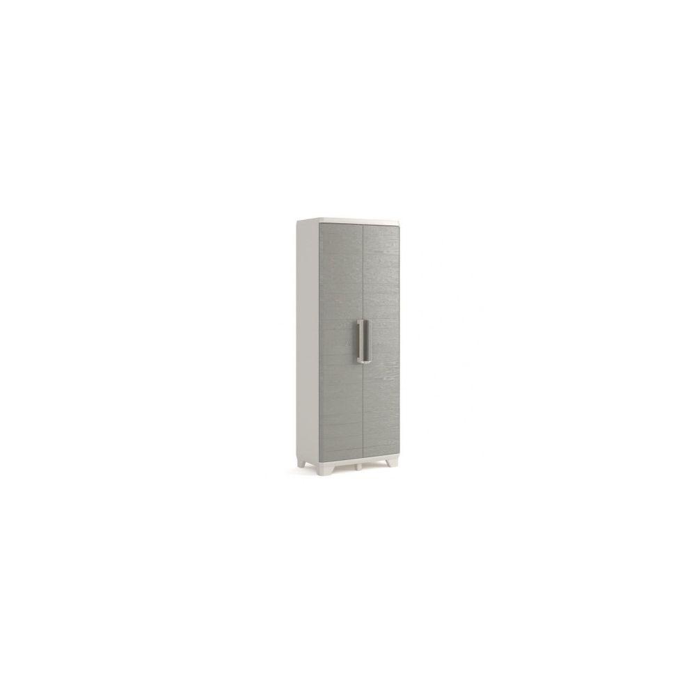 Keter KETER Armoire haute de rangement - Wood Grain - Texture bois - 2 portes - 3 etageres - pieds ajustables - verouillable