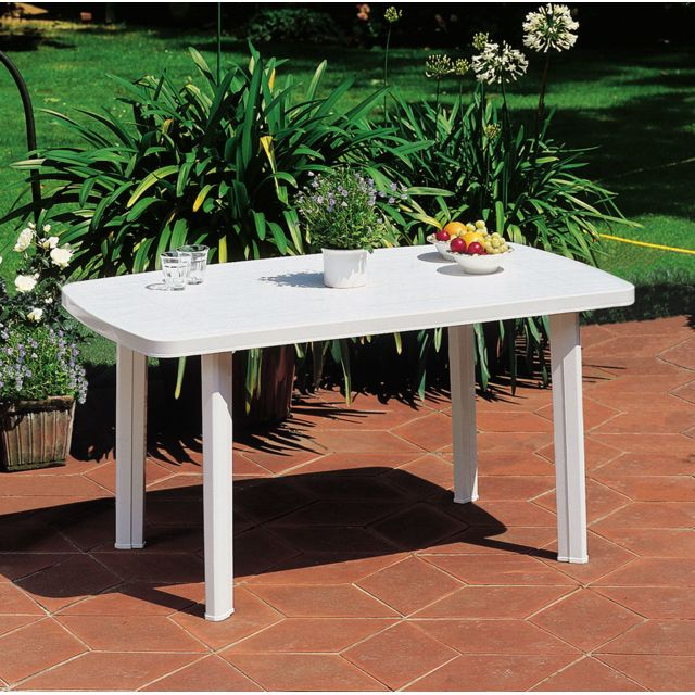 Carrefour - FARO - Table de jardin rectangulaire - Blanc - 909908 - Tables de jardin