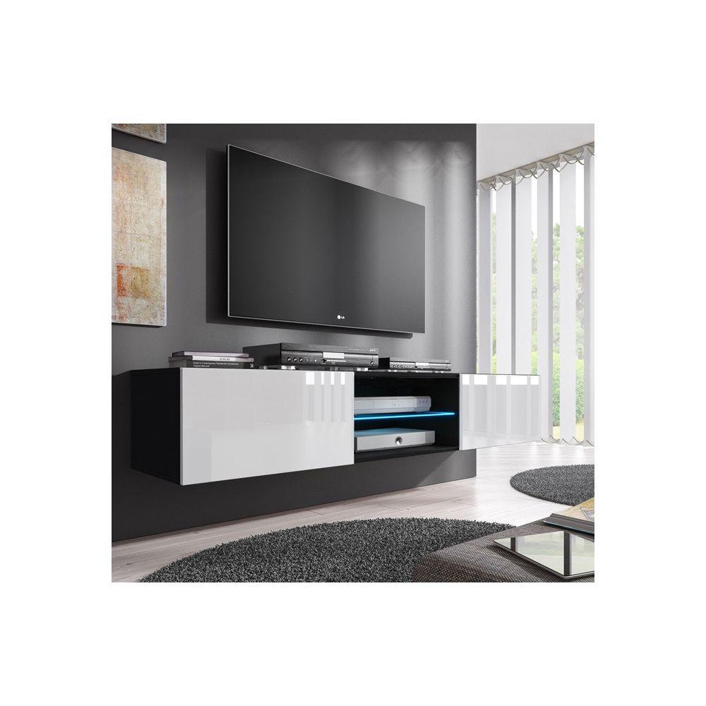 Design Ameublement Meuble TV modèle Tibi (160 cm) noir e blanc