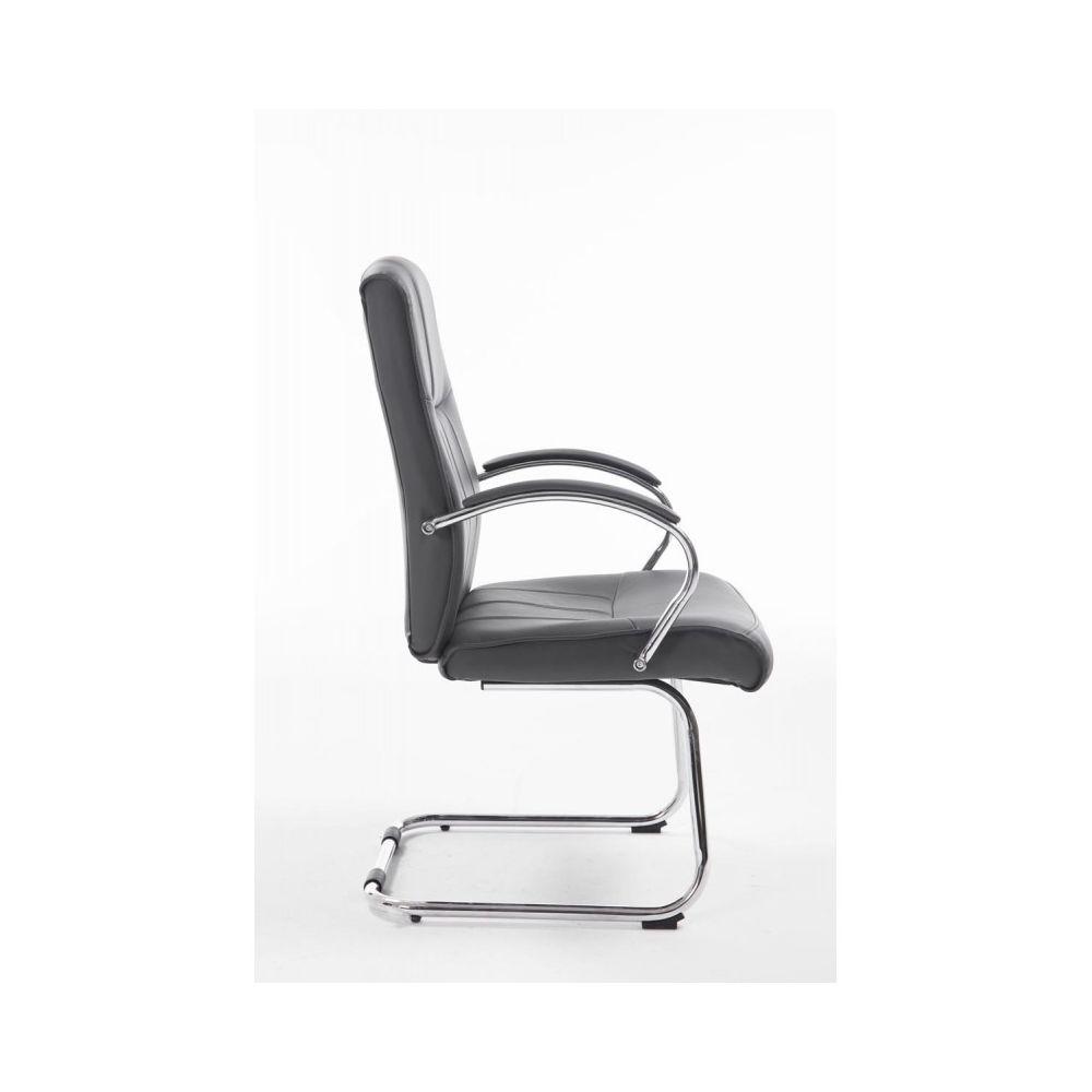 Fauteuil chaise de bureau sans roulette en simili-cuir blanc BUR10029
