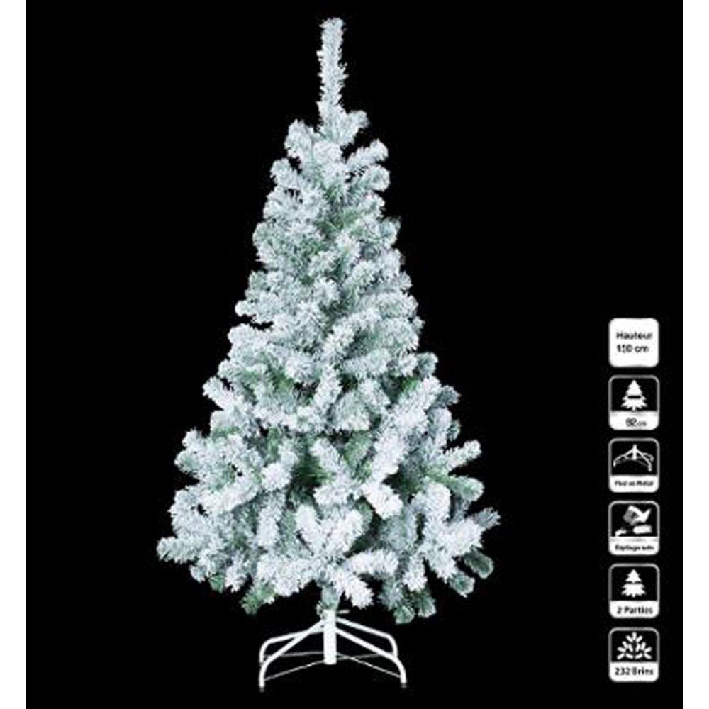 Pegane Sapin artificiel de noël floqué en PVC et métal - Dim : L.150 x l.84 x H.92 cm -PEGANE-
