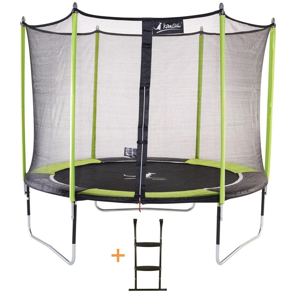 Kangui Kangui - Trampoline de jardin 305 cm + filet de sécurité + échelle JUMPI Vert/Noir 300