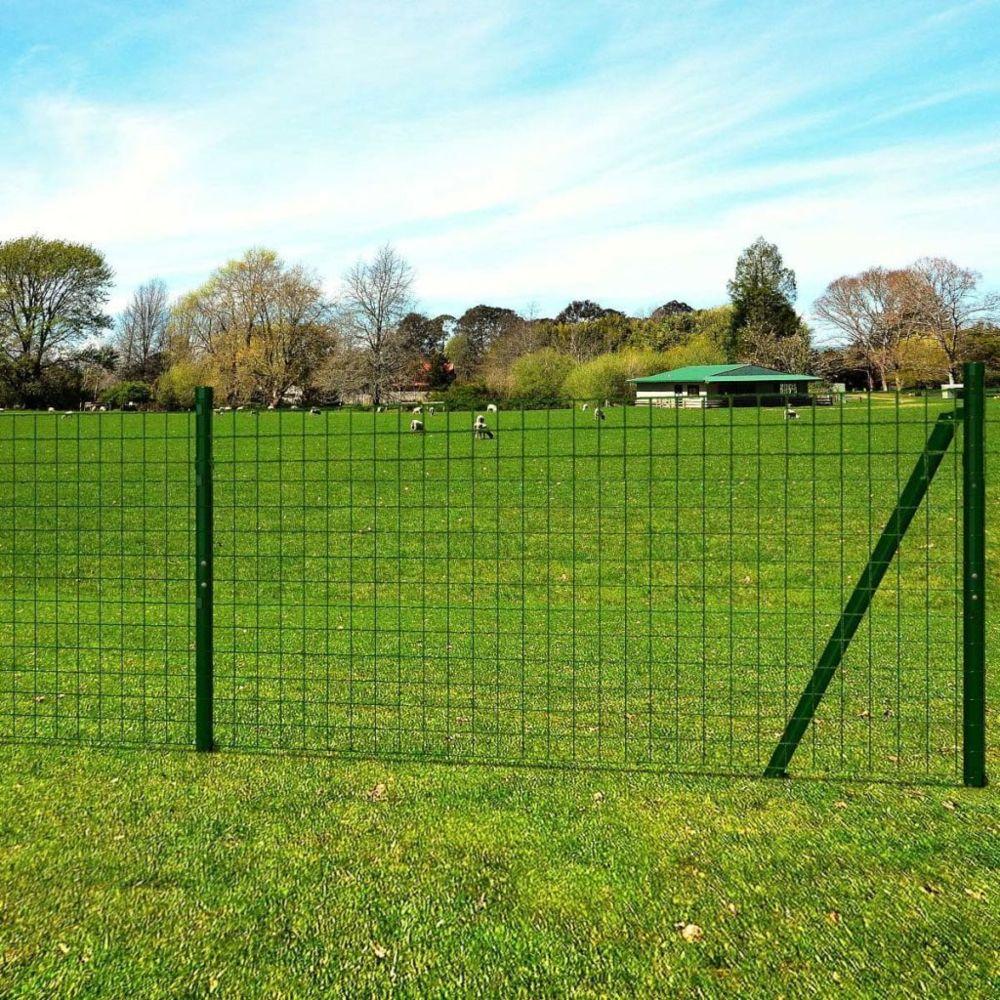 Vidaxl Jeu de clôture Euro avec piquets de sol 10 x 1,96 m Acier Vert - 142376   Vert