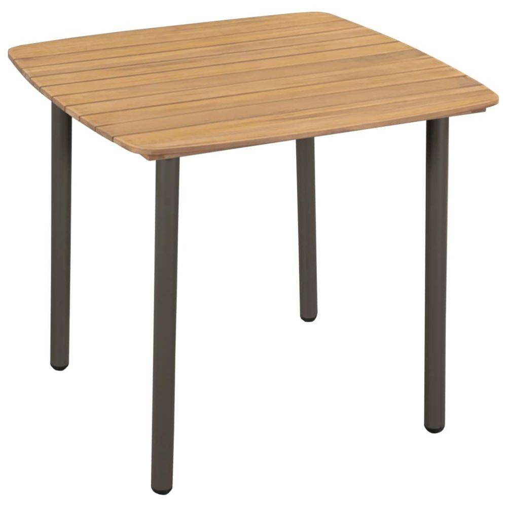 Vidaxl Table d'extérieur Bois d'acacia solide et acier 80 x 80 x 72 cm | Brun - Meubles de jardin - Tables d'extérieur | Brun |