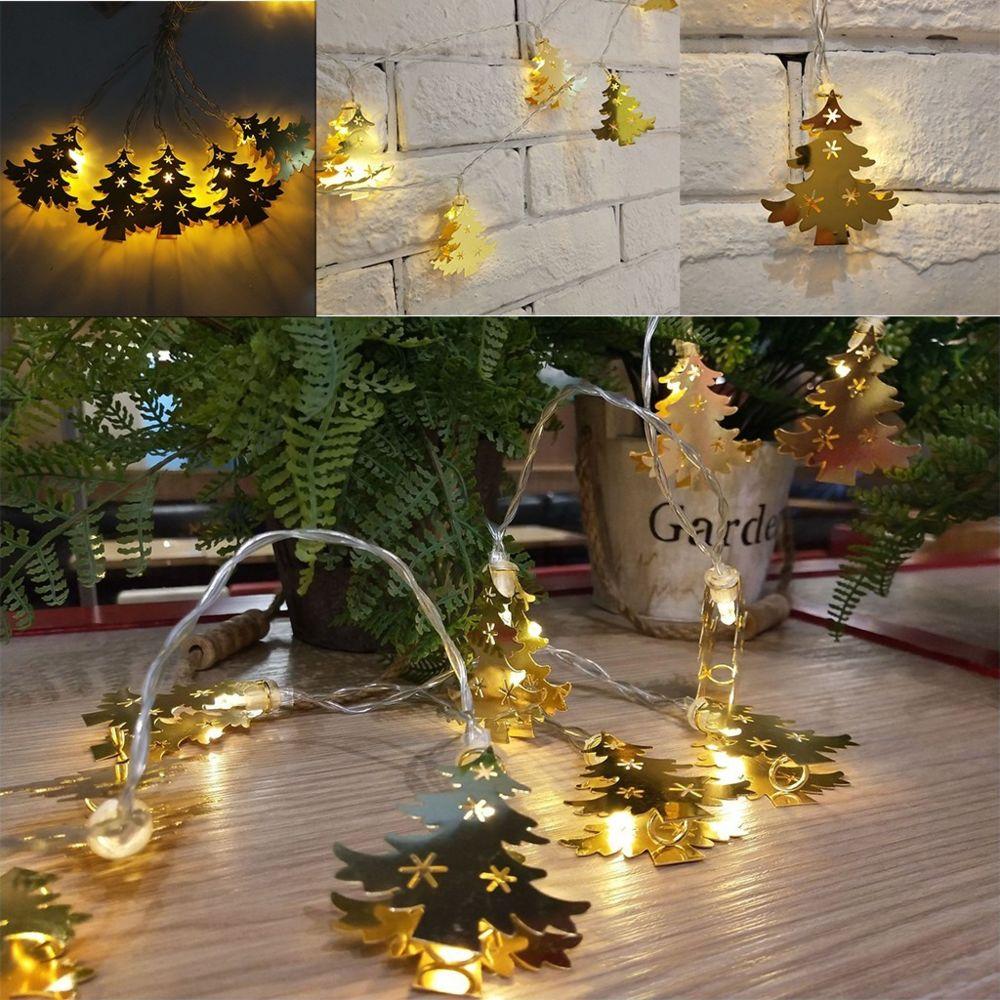 Generic LED guirlande lumineuse boîte à piles outil de lampe décorative de fête d'arbre de Noël creux - Jaune