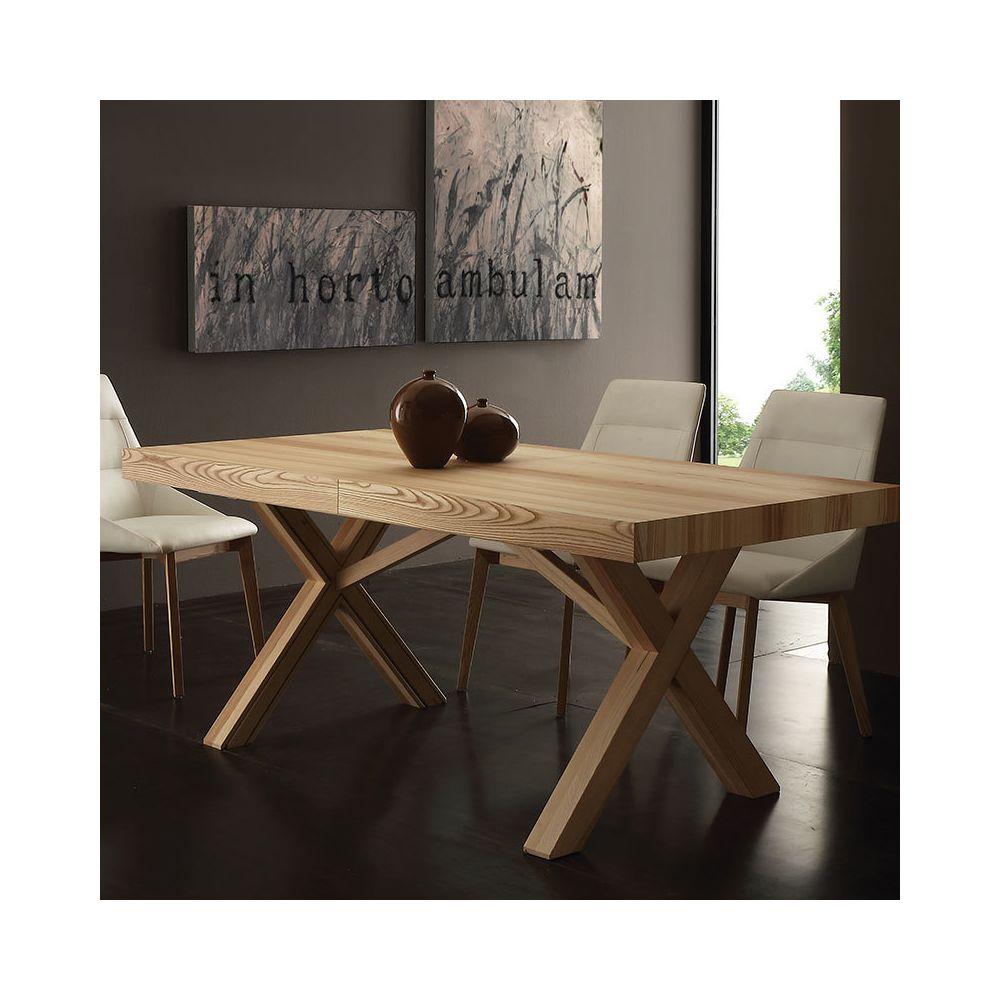 Nouvomeuble Table à manger extensible bois massif HESTIA