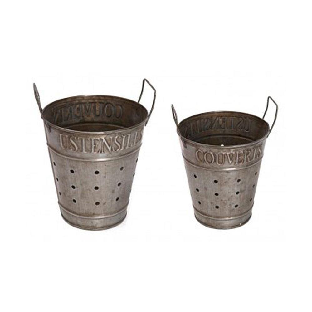 Antic Line Creations Pots de rangement en zinc couverts et ustensiles (Lot de 2)