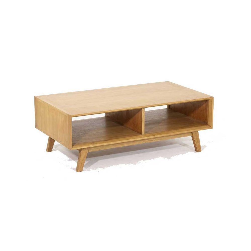Tousmesmeubles Table basse rectangulaire 2 niches Teck massif - MAUREEN