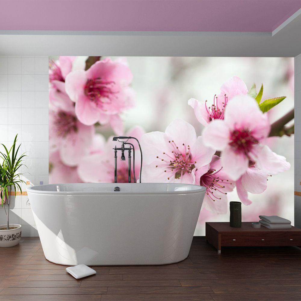 Declina Papier peint - Cerisier en fleurs avec petites fleurs roses