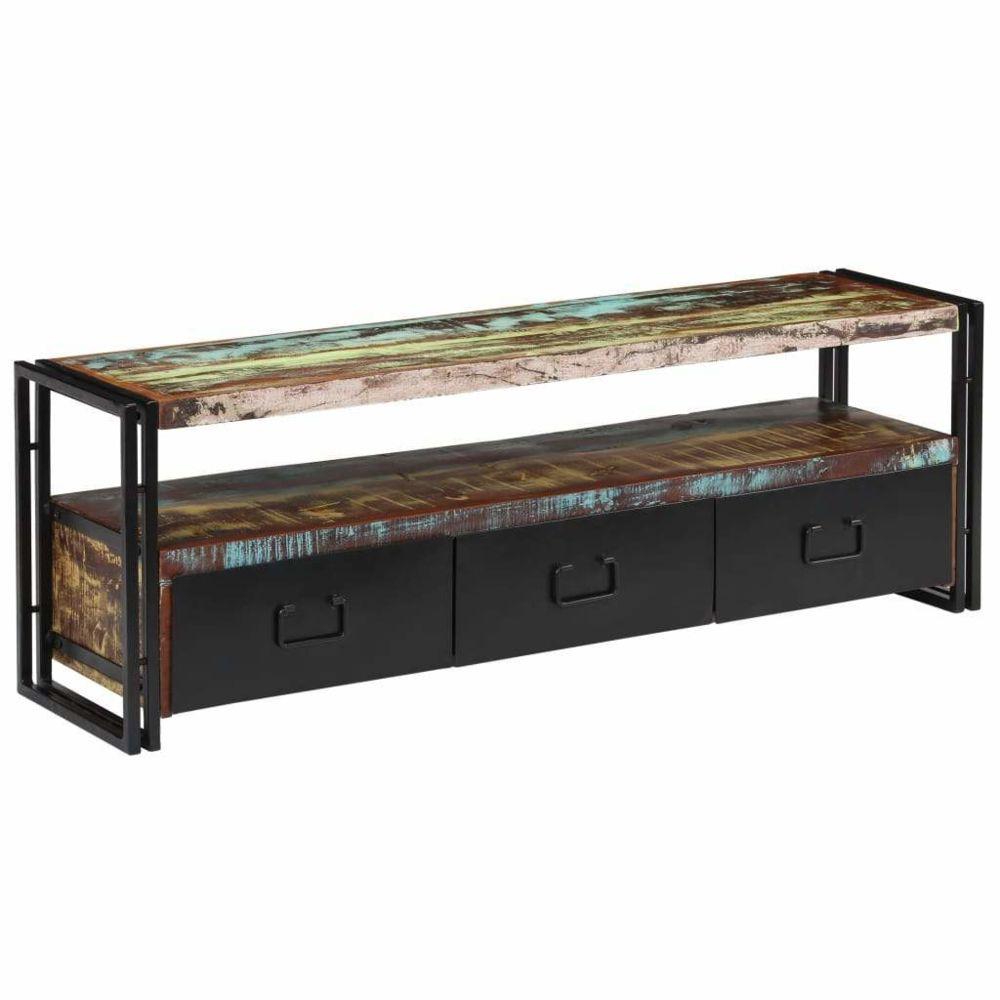 Helloshop26 Meuble télé buffet tv télévision design pratique bois de récupération massif 120 cm 2502156