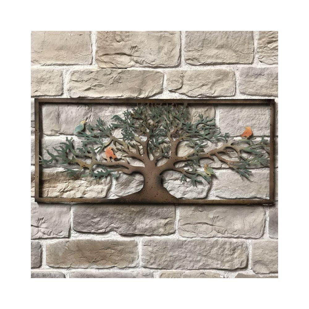 L'Originale Deco Grand Fronton Applique Grille Murale de Décoration Métal Fer 125cm x 55cm Oiseaux Arbre