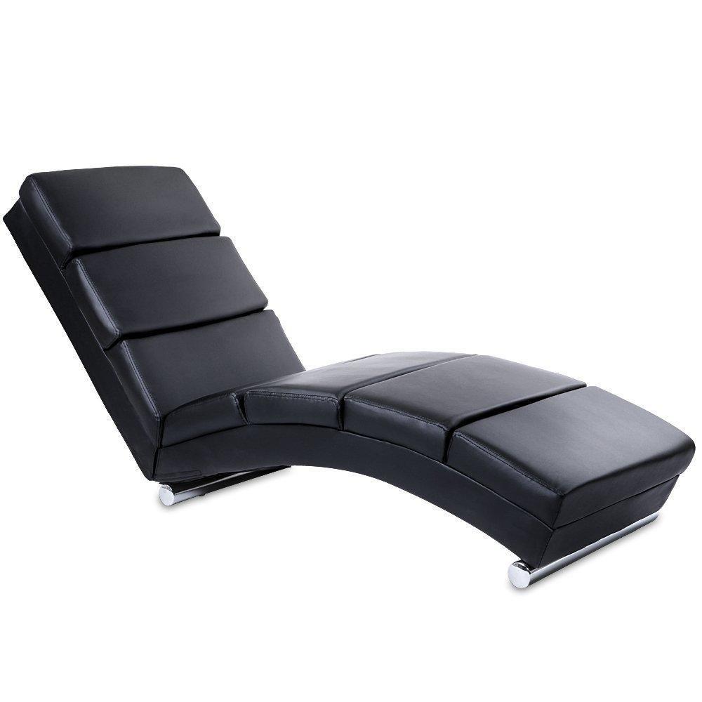 Helloshop26 Chaise longue transat fauteuil de relaxation en simili cuir noir 1701003