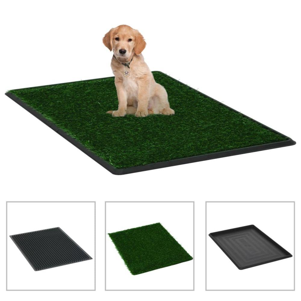 Vidaxl vidaXL Tapis pour animaux 2 pcs avec plateau et gazon artificiel Vert