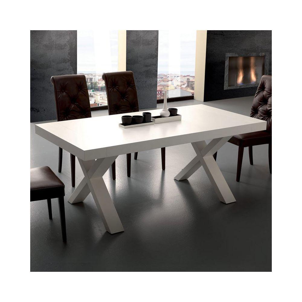 Nouvomeuble Table à manger extensible design blanc LENA