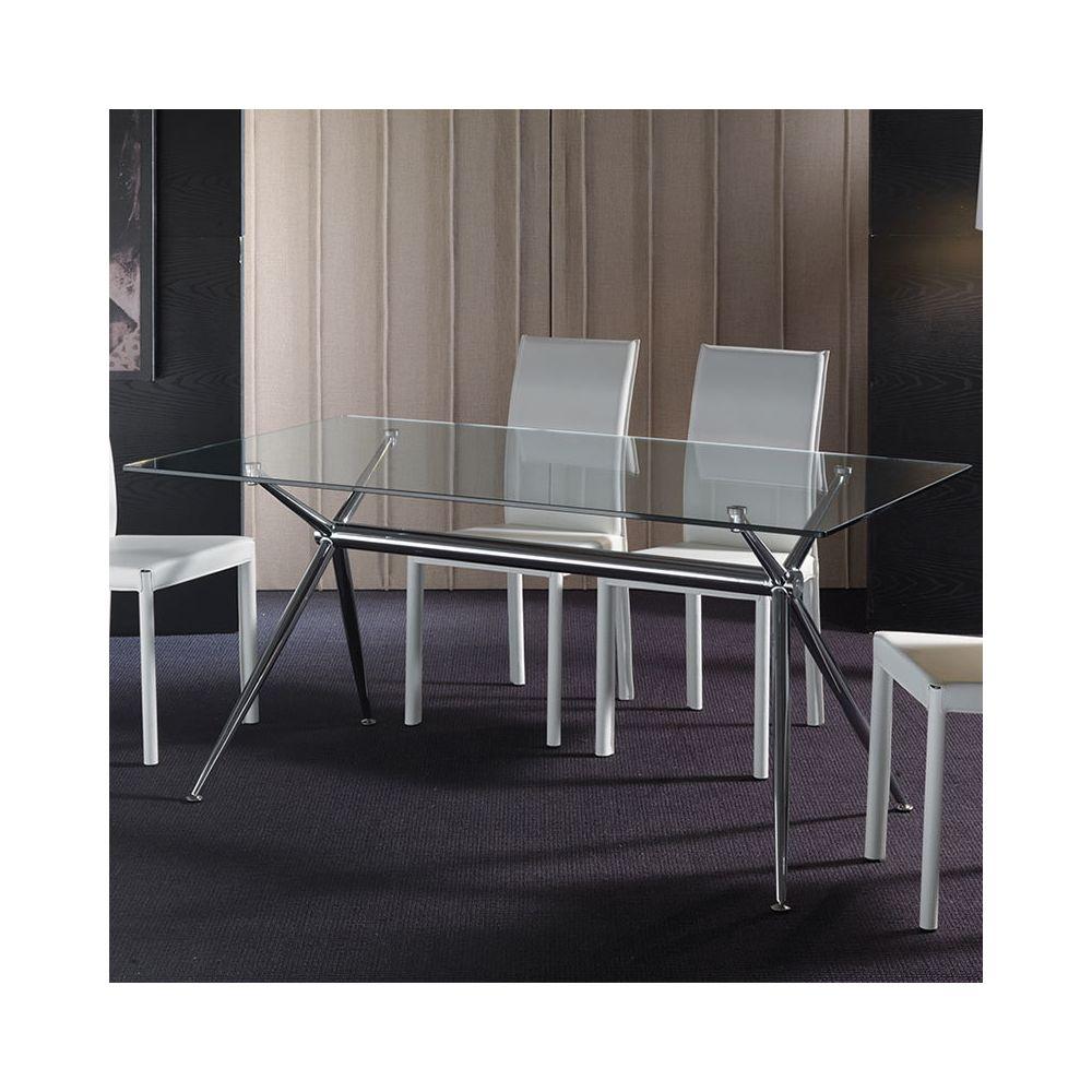Nouvomeuble Table à manger en verre MARINA