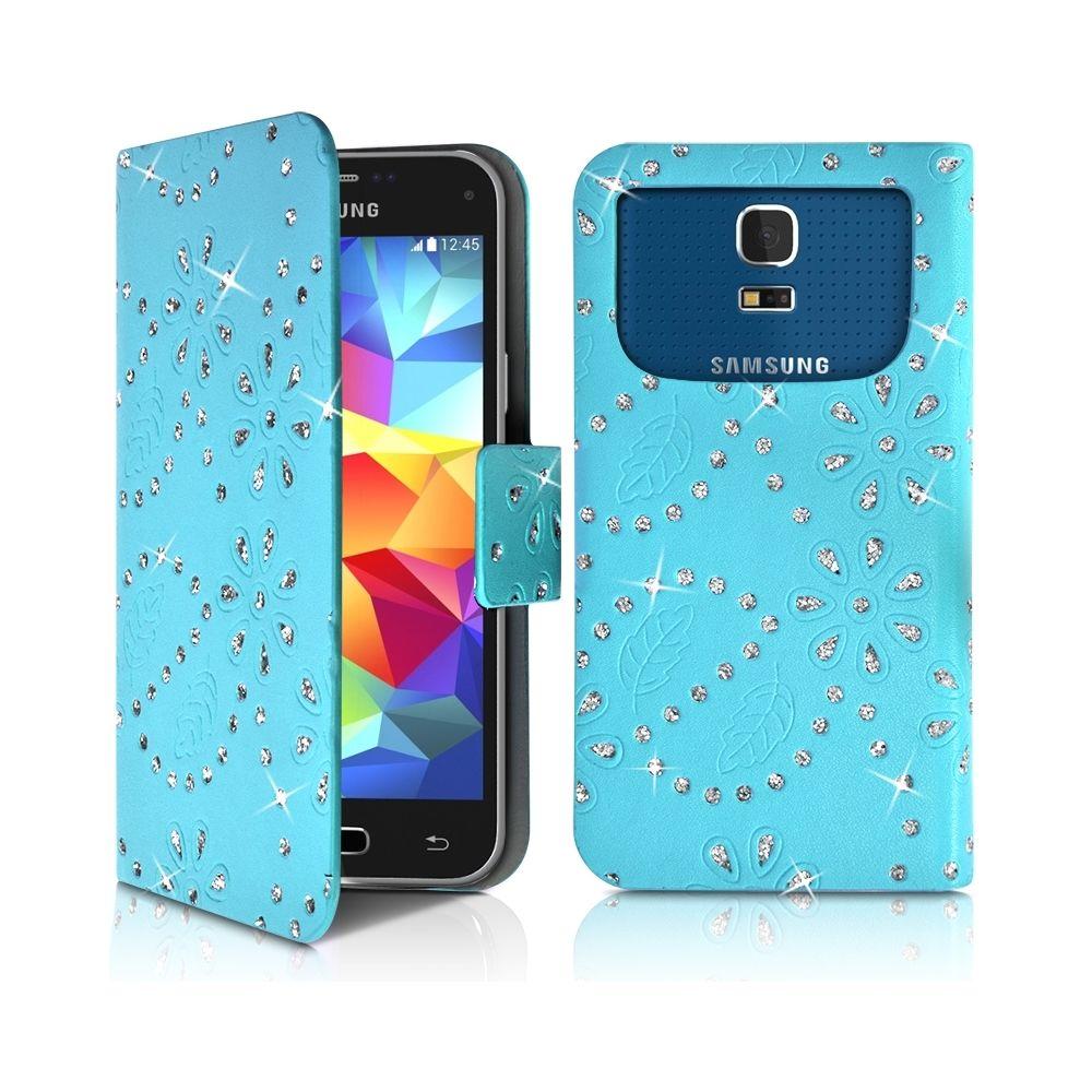 Karylax - Housse Coque Etui Portefeuille Motif Diamant Universel S couleur bleu clair pour Samsung Galaxy S5 Mini