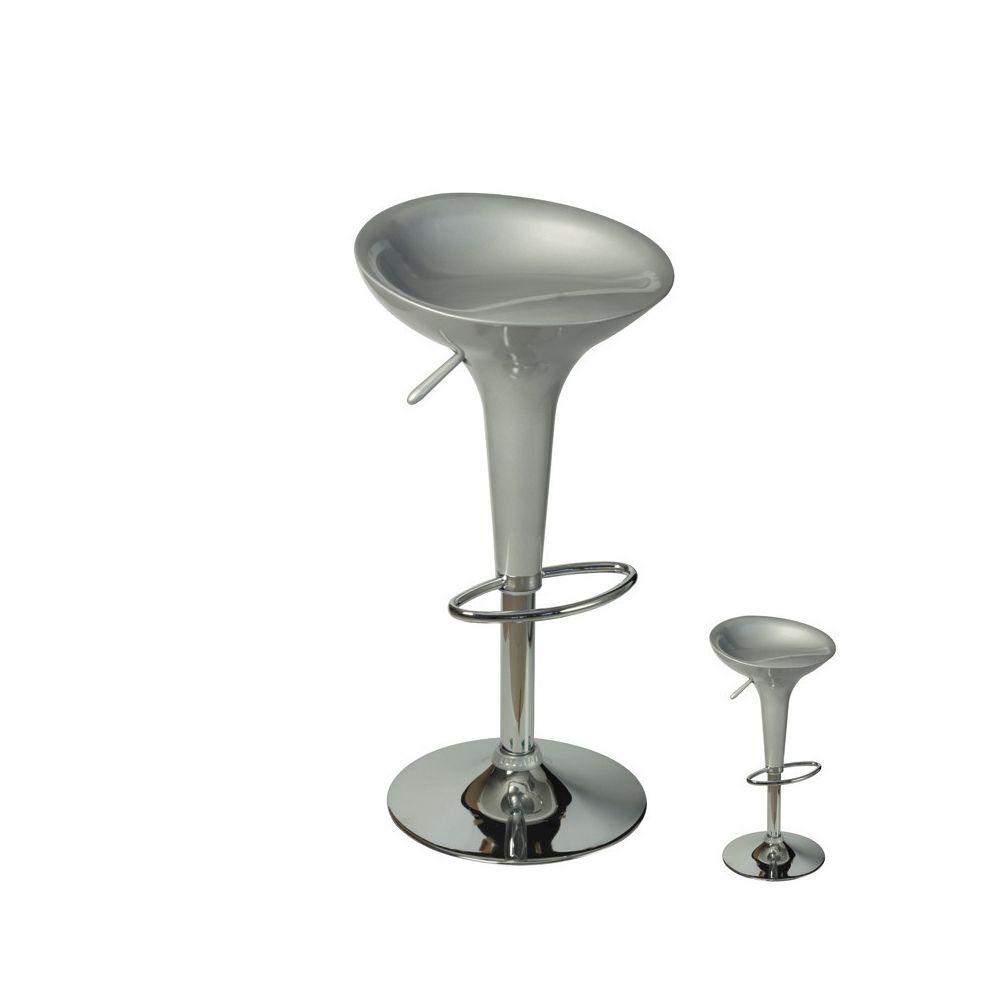 Dansmamaison Duo de Tabourets de bar argent réglables - PLIF - L 44 x l 39 x H 56 / 79 cm