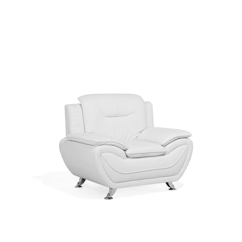 Beliani Beliani Fauteuil en simili-cuir blanc LEIRA - blanc