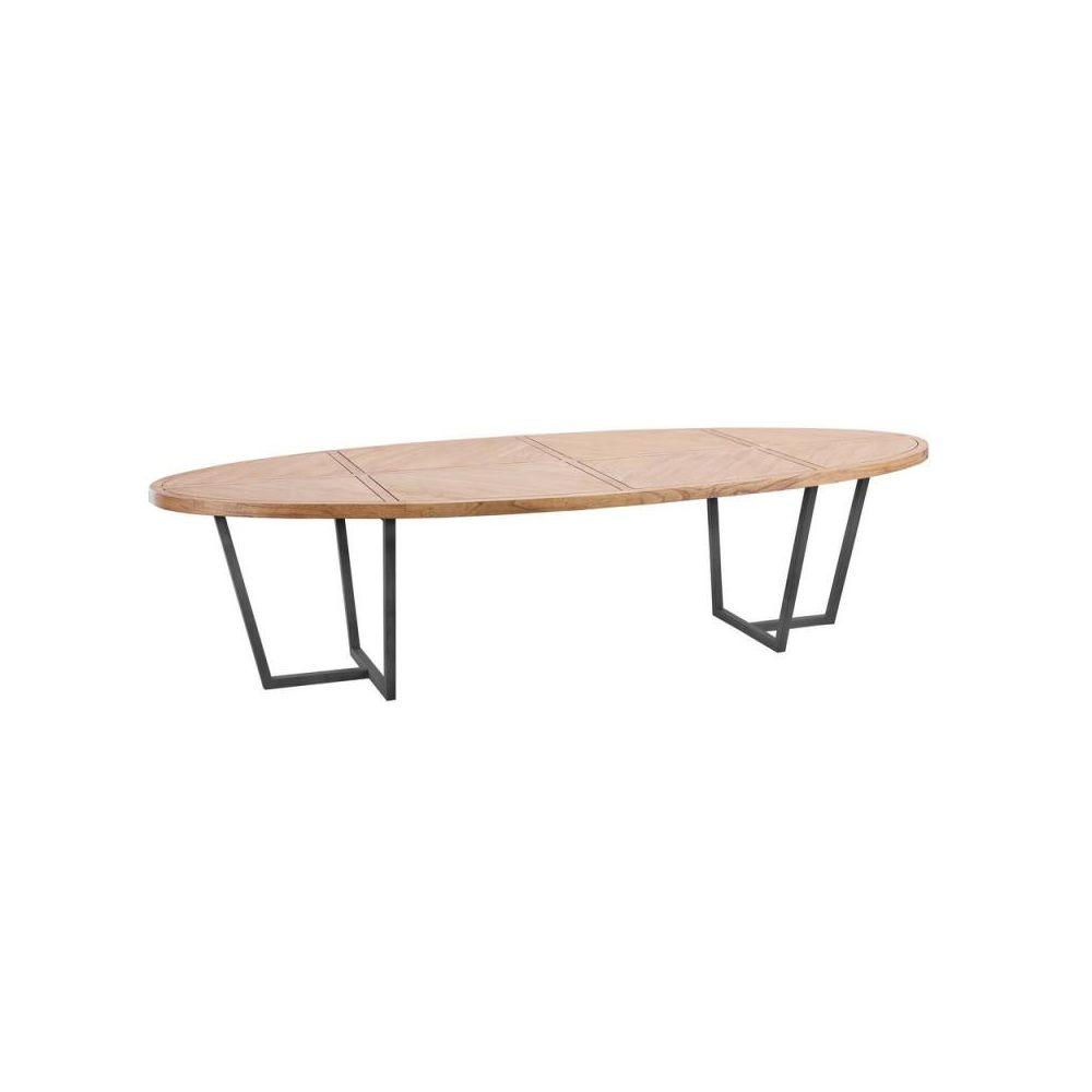 Tousmesmeubles Table de repas ovale 300 cm Bois clair/Métal - OUJDA