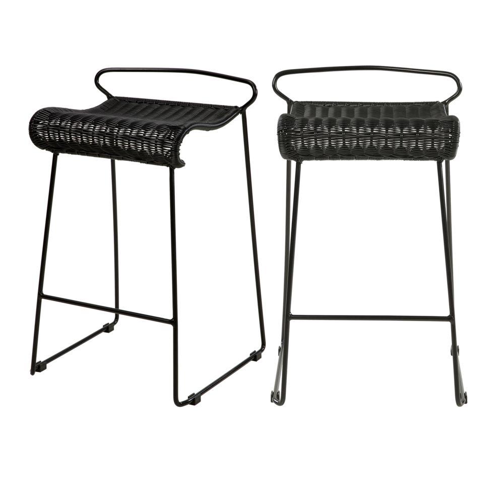 Rendez Vous Deco Chaise de bar Magadi en résine tressée noire 72,5 cm (lot de 2)
