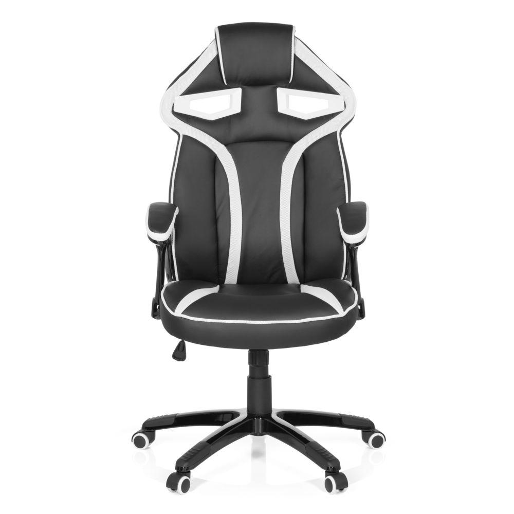 Hjh Office Chaise gaming / Chaise de bureau GUARDIAN simili cuir noir / blanc hjh OFFICE