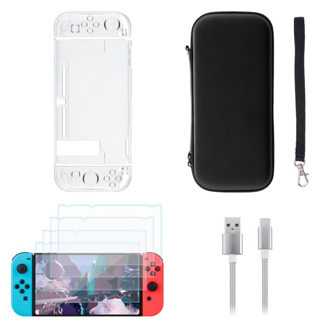 Excelvan - Accessories Starter Kit pour Nintendo Switch + étui de transport portable + 4 pcs housse de protection coquille dure +  USB Type-C Excelvan   - Accessoire Switch