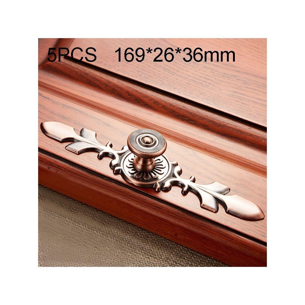 Wewoo Poignée d'armoire 5 PCS 6037-Grande de meuble en bois massif Poignées bronze rouge