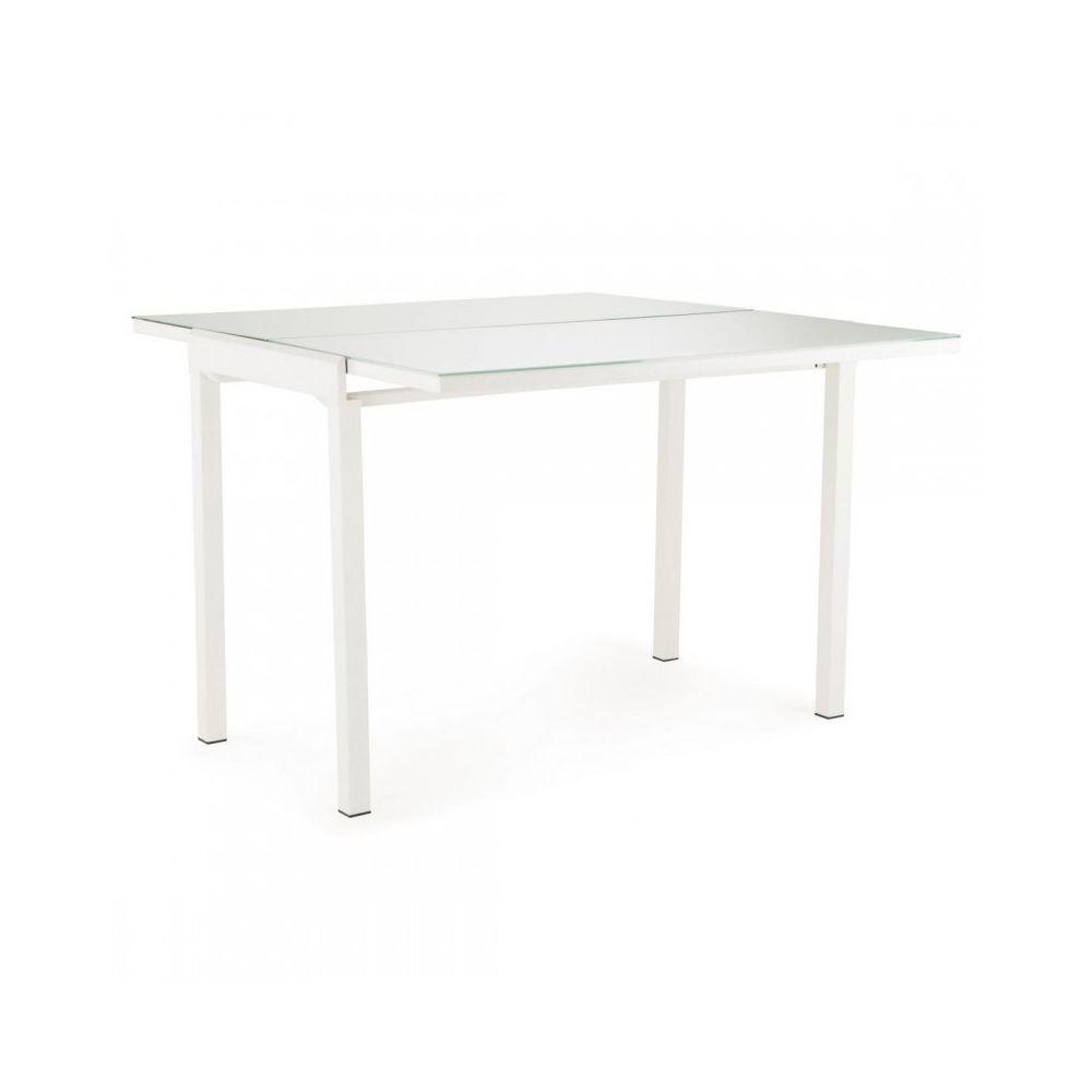 Meubletmoi Table extensible 110/165 cm compact plateau verre blanc - AGATE