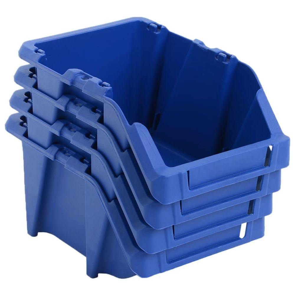 Vidaxl Bac de rangement empilable 250 pcs 103x165x76 mm Bleu - Organisation et rangement d'outils - Armoires à outils   Bleu  