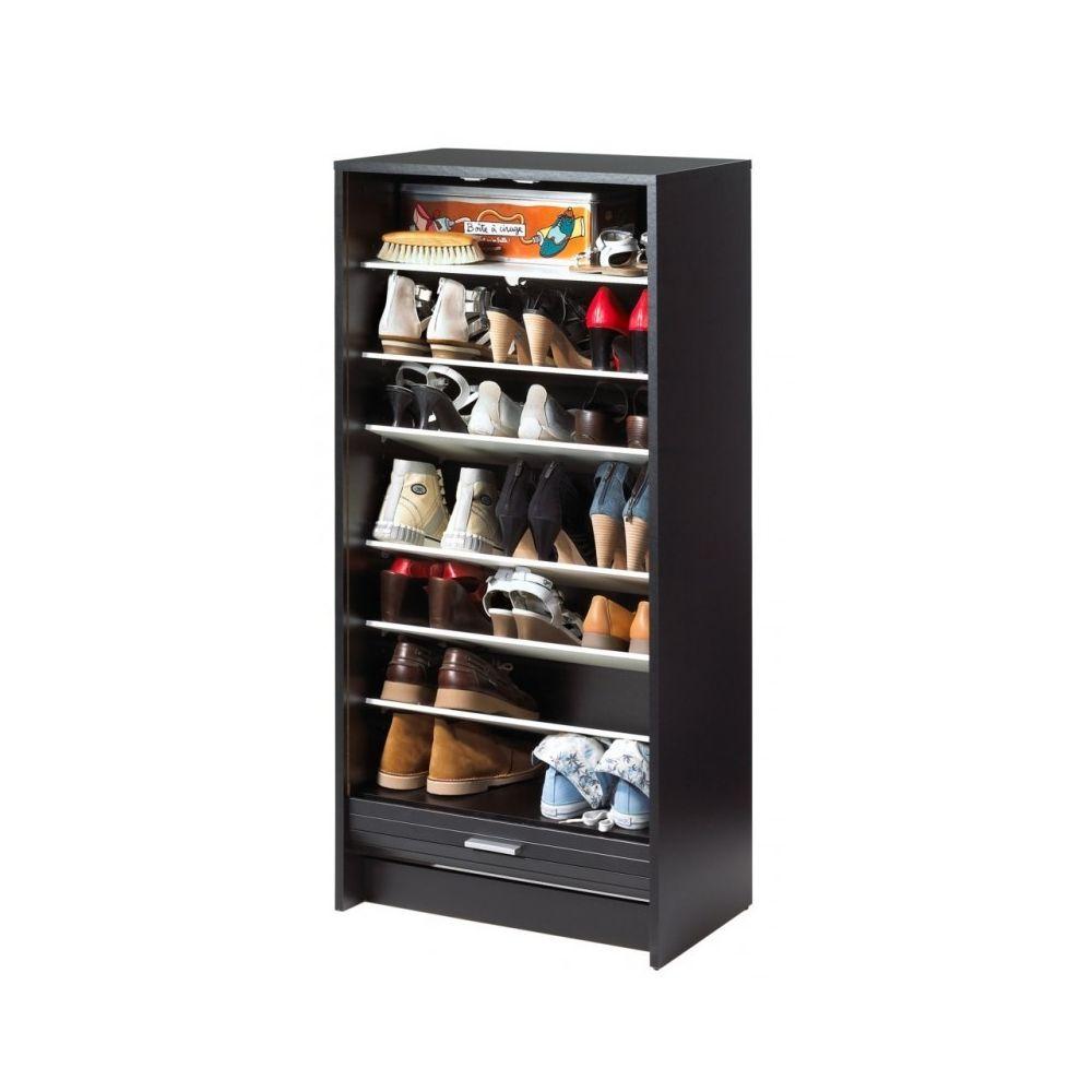 Simmob Meuble à Chaussures Noir 7 Tablettes - Coloris: Scene New York 504