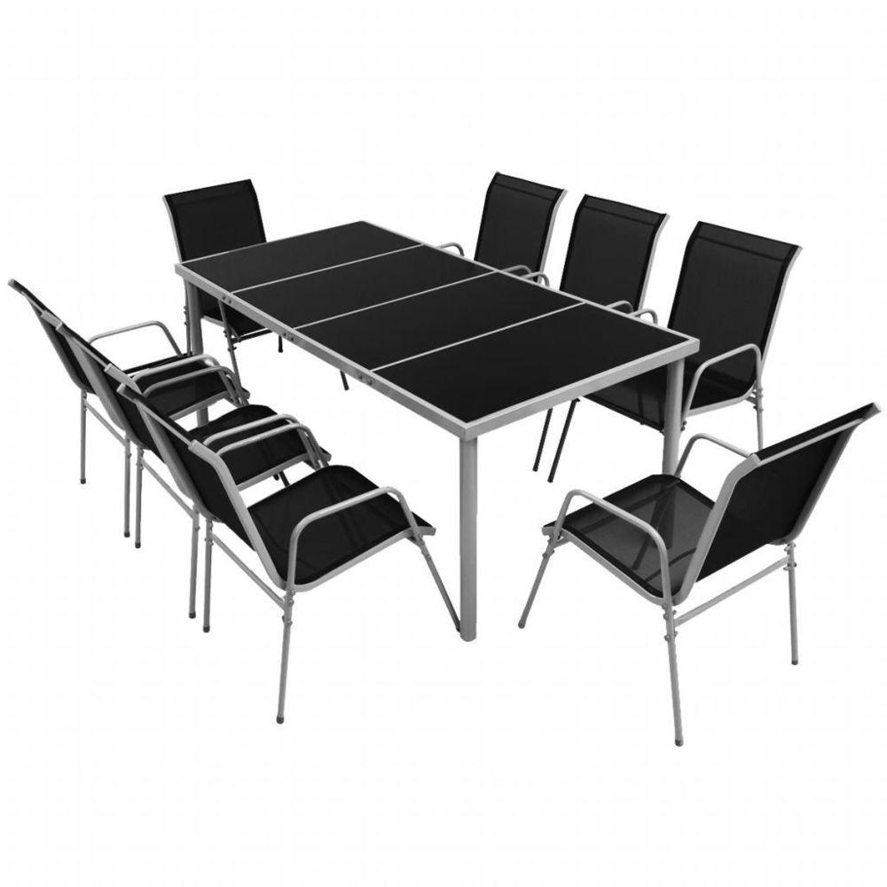 Vidaxl Ensemble de salle à manger d'extérieur 9 pcs Noir   Noir