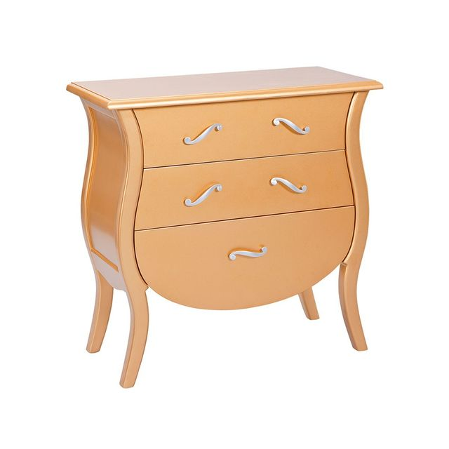 Altobuy - Imperio - Commode 3 Tiroirs Or et Argent - Commode