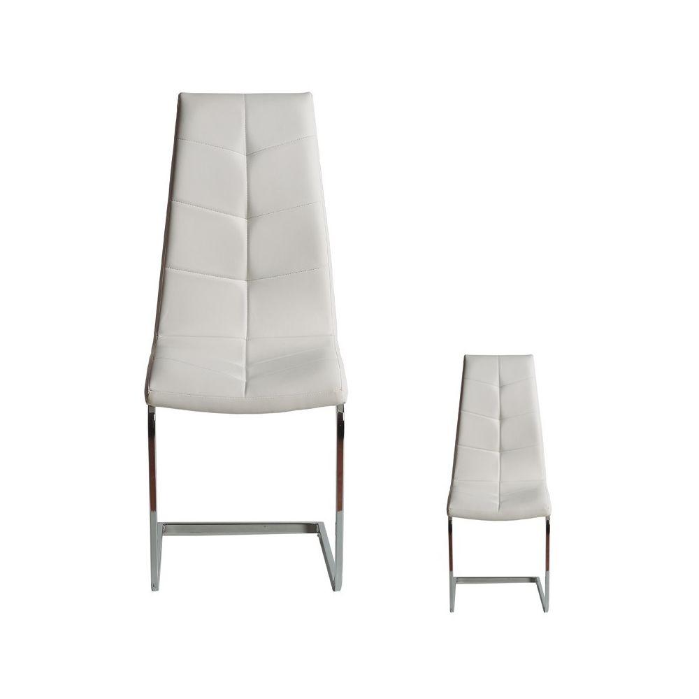 Tousmesmeubles Duo de chaises Simili cuir Blanc - SPARTACUS